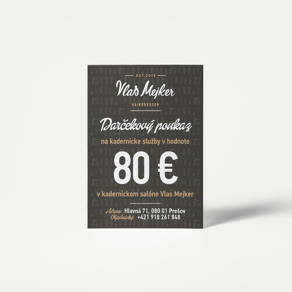 06b7e9d89 Darčekový poukaz do kaderníctva v hodnote 80 € - VlasMejker